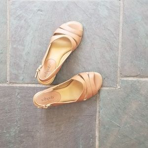 Leather Tan Sling Back Sandals Size 6M
